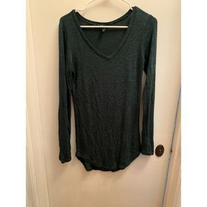 Planet gold long marled green sweater